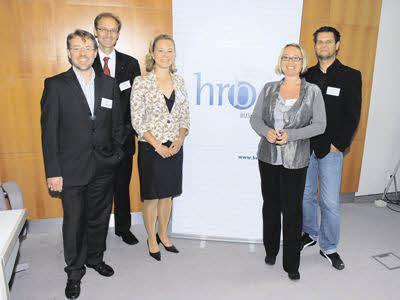 HRBC-Abend (v. l.): Martin Sternsberger (Agentur.net), Raimund Lainer (HRBC-Präsident), Stefanie Gerhofer (karriere.at), Andrea Starzer (Skidata) und Günther Schadenbauer (vi knallgrau).
